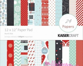 """Paper printed Kaisercraft's """"North Pole"""" collection, Christmas paper, 30 X 30 cm, scrapbooking, 24 sheets"""