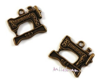 Set of 3 charms machine sewing scrapbooking embellishment bronze *.