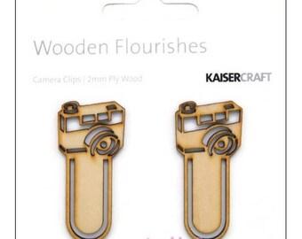 Set of 2 clips cameras Kaisercrafts scrapbooking cardmaking cut *.