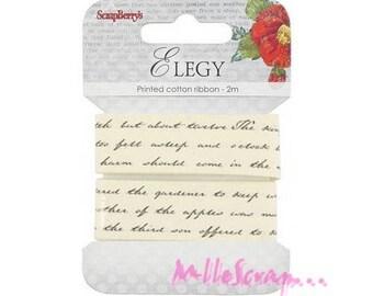 "2 m printed Ribbon ""text"" embellishment scrapbooking card making *."