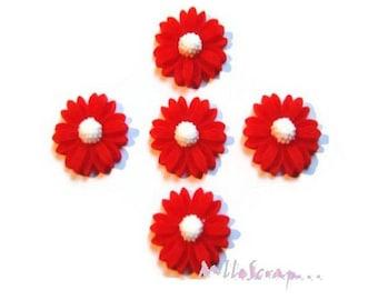 Set of 5 red resin daisies scrapbooking card making *.