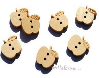Set of 10 apples card scrapbooking embellishment wooden buttons *.