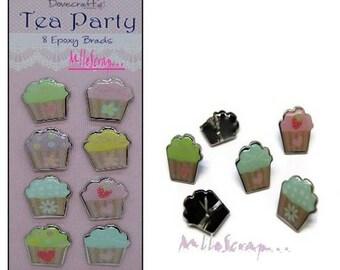 "Set of 8 ""cupcakes"" scrapbooking embellishment epoxy brads card (ref.110). *."