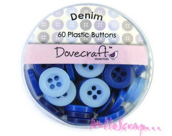 """Set of 60 buttons """"Blueberry"""" Dovecraft embellishment scrapbooking (ref.110) *."""