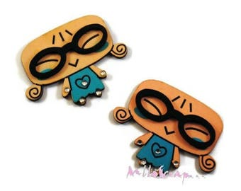 Set of 2 girls with glasses wood blue scrapbooking cardmaking *.