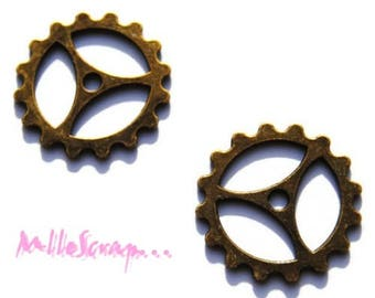 Set of 2 charms bronze gear 2 cardmaking scrapbooking *.
