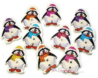 Set of 10 decorated penguins Christmas scrapbooking embellishment wooden buttons *.