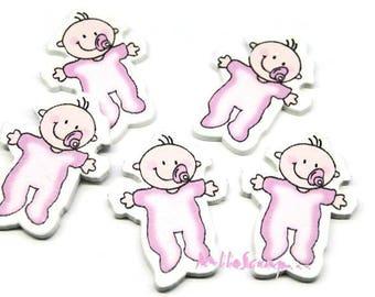 Set of 5 pink wood babies scrapbooking (ref.410) *.