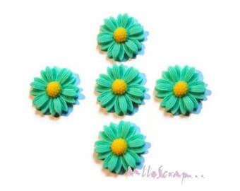 Set of 5 Green resin daisies scrapbooking card making *.