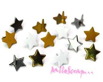 Set of 12 stars 13 mm embellishment scrapbooking brads *.