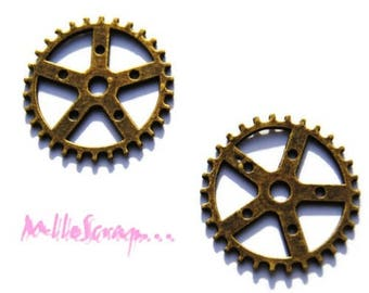 Set of 2 charms bronze gear 1 cardmaking scrapbooking *.