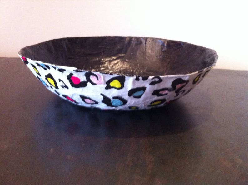 Paper mache Bowl - handmade - Decor colorful patterns