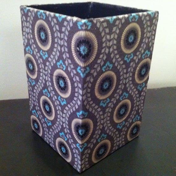 Large jar with pencils in paper mache - Decor patterns hippie paisley Browns