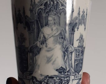 RARE Antique Doulton Burslem Queen Victoria Jubilee Beaker/Mug- Skelton- in- Cleveland 1897! Very Collectible! (Reserved for Mary)
