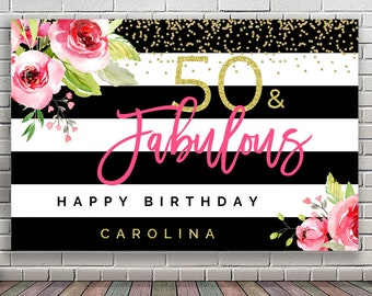 PRINTABLE 50th Birthday Backdrop Pink Gold Party Banner Fifty And Fabulous 30th 40th 60th 70th Table Decoration B002