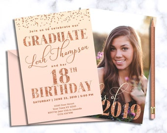 Graduation Invitation And 18th Birthday With Picture Rose Gold