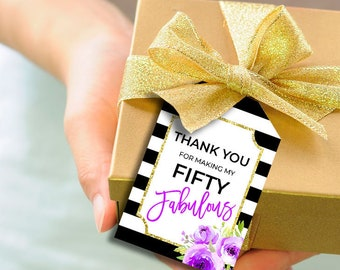 Thank You Tags 50th Birthday Party Favor Printable Gift Favors Decor Purple