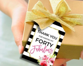 Favor Tags Printable Thank You 40th Birthday Party Gift Favors Decor