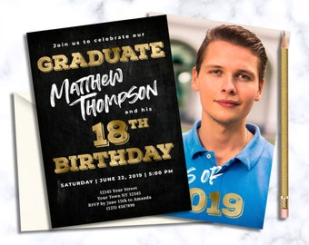 Graduation Invitation Boy Picture 18th Birthday And With Pictures Black