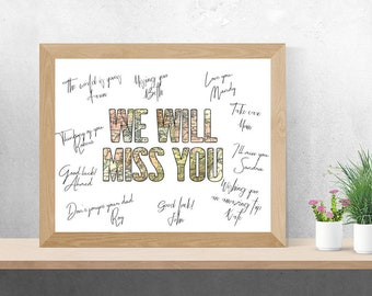 8x10 16x20 Farewell gift Farewell printable sign Guestbook sign printable Farewell party decorations Farewell party ideas We will miss you