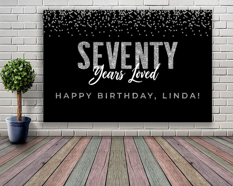 PRINTABLE 70th Birthday Decoration Black And Silver 21st 30th