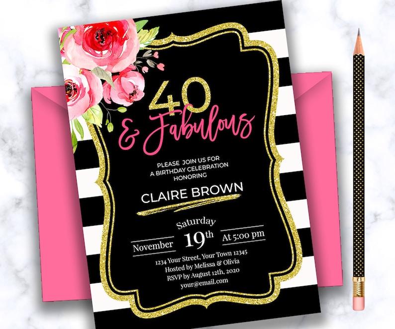 PERSONALIZED 40th Birthday Invitation Pink Gold Black