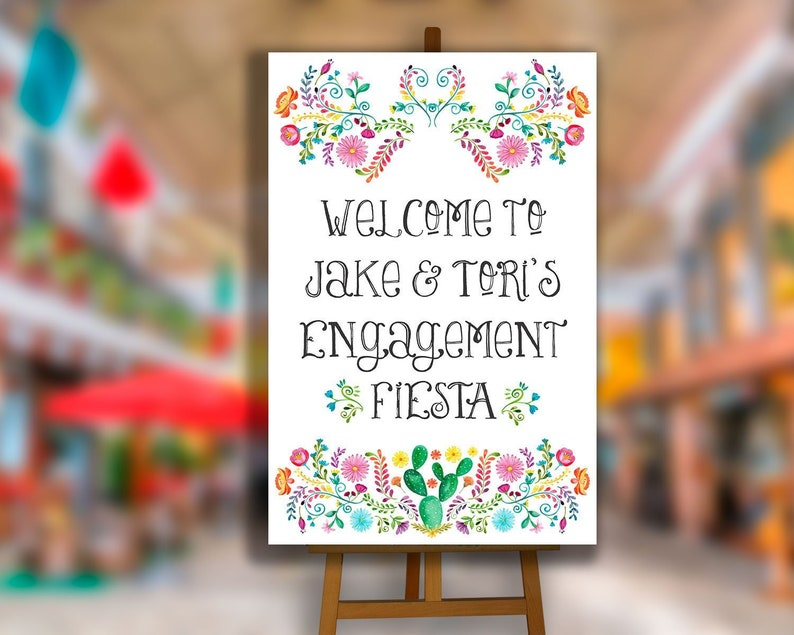 PRINTABLE Fiesta engagement party decorations Fiesta welcome poster Fiesta welcome sign Mexican theme Engagement Fiesta sign DIGITAL FILE