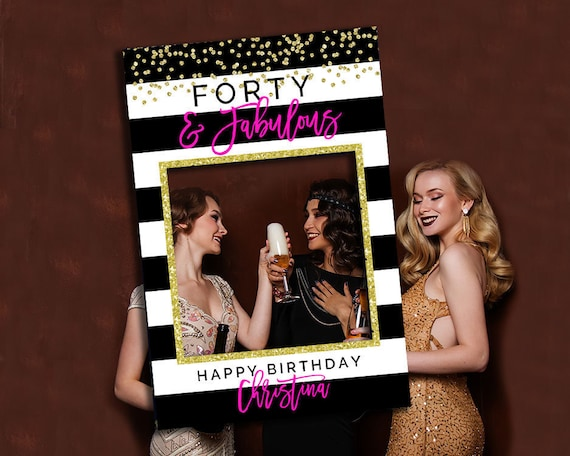 PRINTABLE 40th Birthday Party Decoration Pink Black Gold