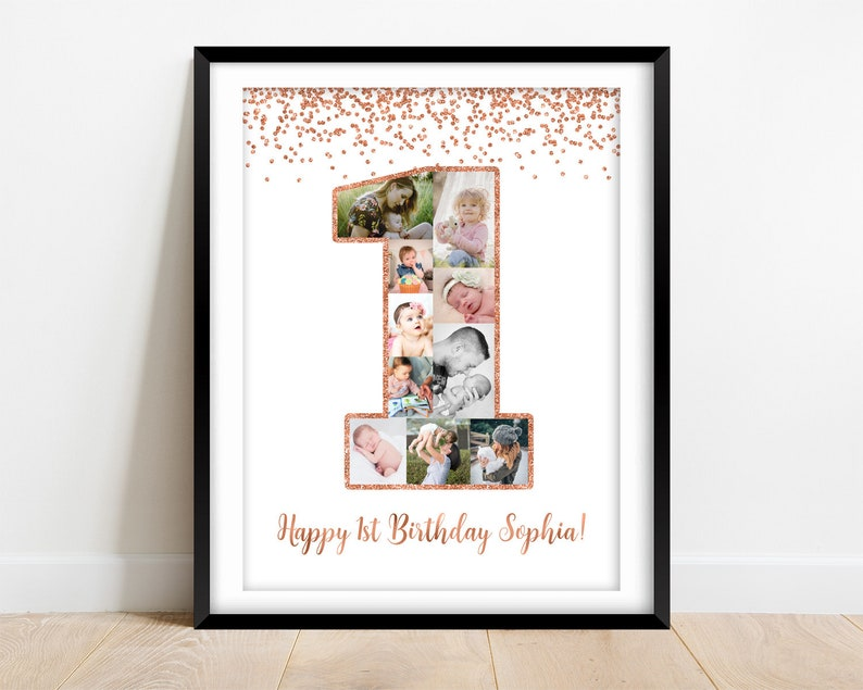 DIGITAL DOWNLOAD 1st birthday photo collage 1st birthday poster with pictures First birthday decorations rose gold 1st birthday gift