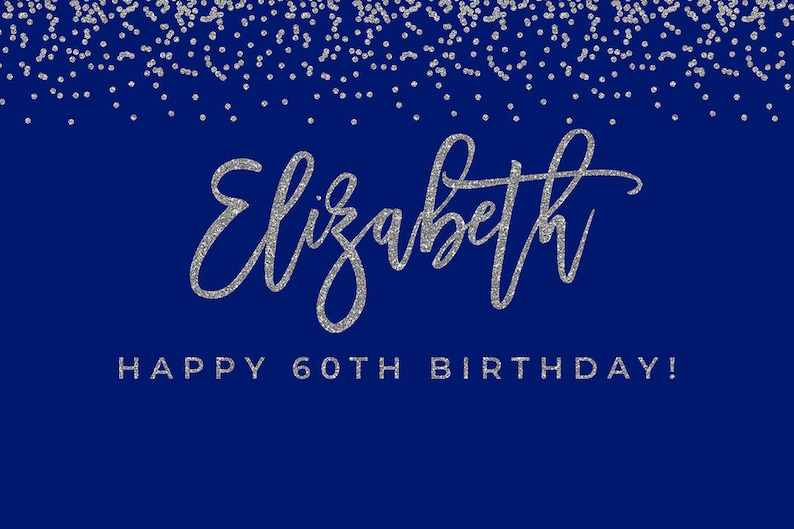 PRINTABLE 60th Birthday Decorations Blue And Silver