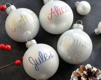 Custom Glass Christmas Ornament with name- Glass christmas Ornament - Merry Christmas - Christmas tree ornament - Christmas gift