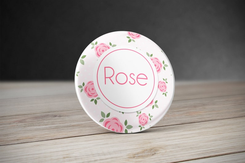 Flower Birthday favors Personalized Rose Pinback Button mirror or Magnet 58 mm with names Custom Name Pinback Button Photobooth props