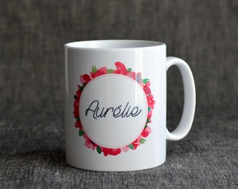 Mug Fleuri watercolor way, customizable with name.