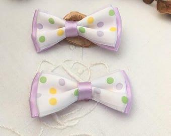 2 bowties purple and white polka dot satin, 1 set