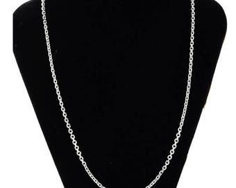 Necklace chain oval steel stainless, lightweight 51 cm 0.8 mm thick