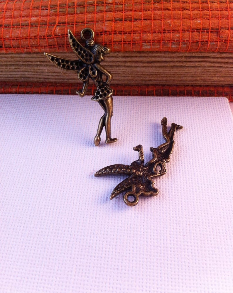 124 charm pendants Tinkerbell bronze color with holes for rhinestones