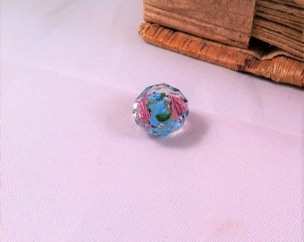 1 lampwork bead worked faceted, transparent, blue flowers Center roses green leaves and gilding