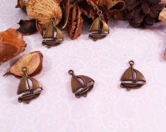 5 pendants charms sailboat bronze for creative arts, 23 mm
