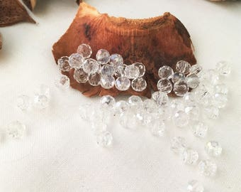 30 transparent faceted beads, 4 mm for creative arts