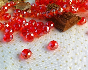 10 Crystal beads 6 x 8 mm, faceted, Red Raspberry