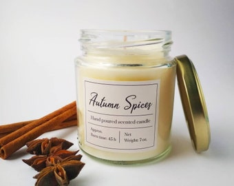 Autumn Spices scented soy candle, Autumn candle spicy scented, Handmade soy wax candle, Housewarming gift, Cinnamon candle, Fall candle