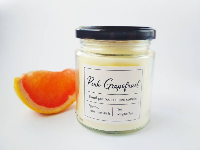 Citrus scented candle gift for sister Pink Grapefruit scented candle Beach home decor Fresh scent Summer candle in clear glass jar