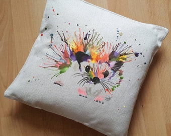 Hedgehog Cushion Cover, Critter Pillow Cover, Watercolour Hedgehog Case, Rainbow Hedgehog, Painted Animal Cushion Cover, Prickles Hedgehog