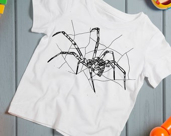 Kids Spider T-Shirt, Steampunk Arachnid Tshirt, Robot Spider Tee, Spider Lover Gift, Birthday Outfit, Machine Black Widow Lover Clothing