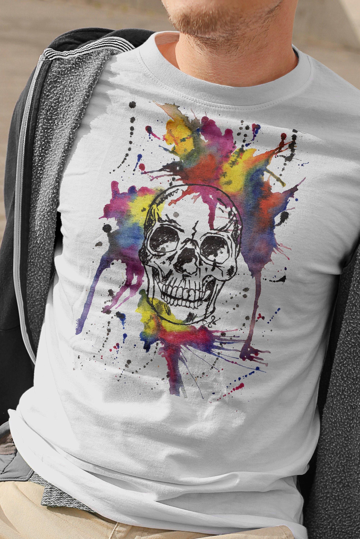Arc-en-tête de mort T-Shirt, Tee squelette mort vif, tête de mort squelette amant chemise, autre amant cadeau, petit ami anniversaire cadeau, T-Shirt tête de mort, Halloween 8ebedc