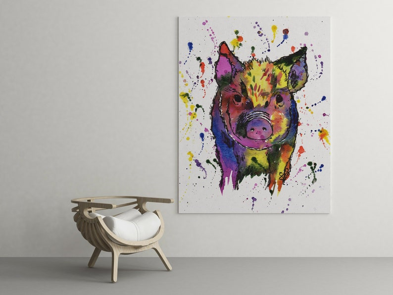 Dinosaur Dino Lover Painting Watercolour A4 A3 Rainbow Triceratops Print by Menagerie Of Mayhem Artwork Handmade Products