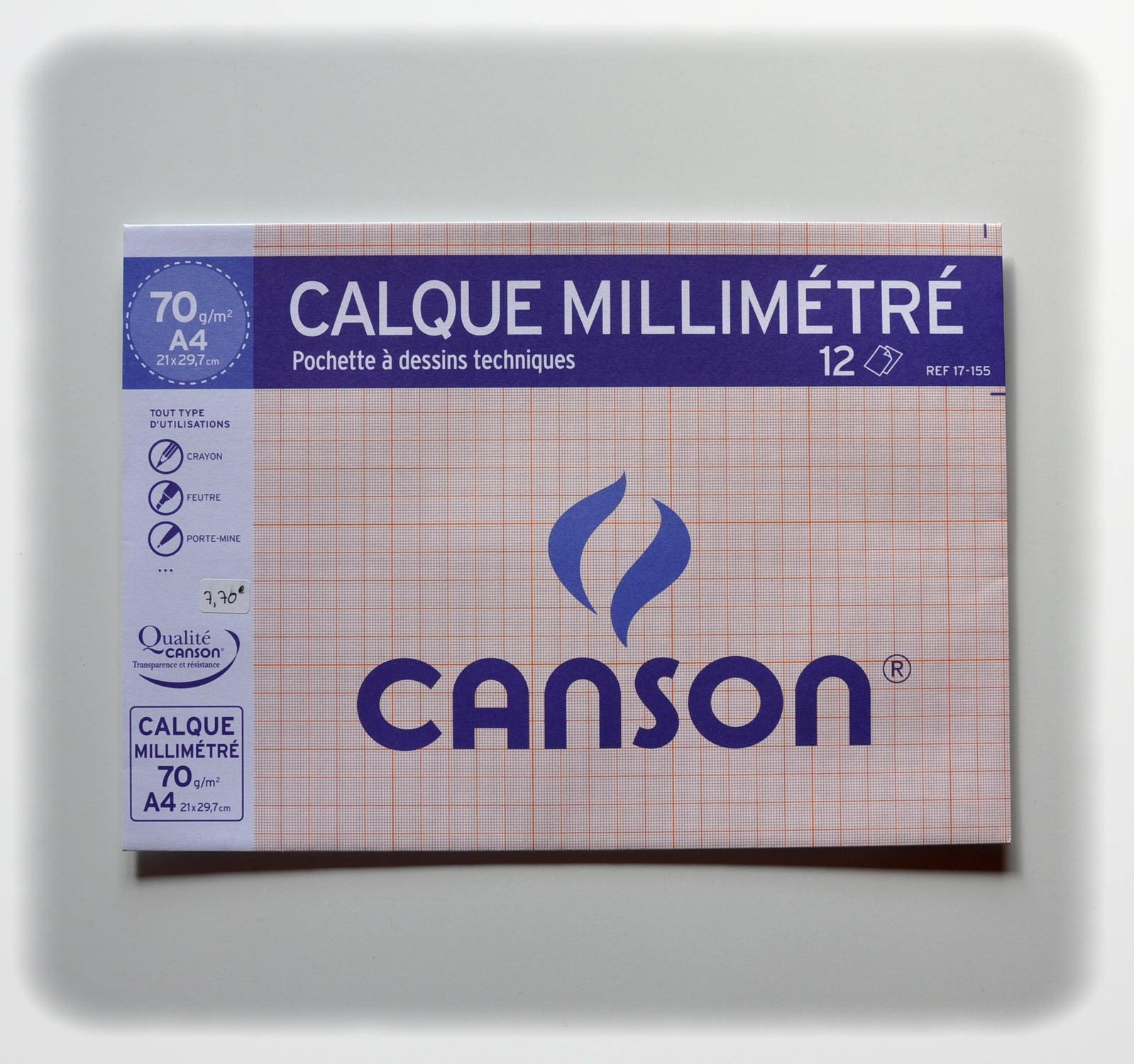 tracing paper canson graph 70 gsm 12 sheets
