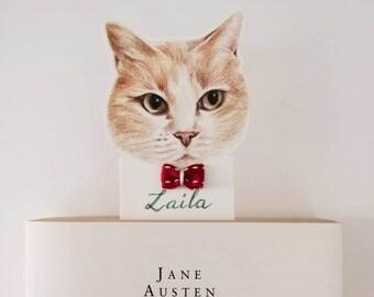Personalized cat bookmark,Custom cat bookmark,kitten bookmark for books,Bookmark for book lovers,Bookmark for cat lovers,Gift for librarians