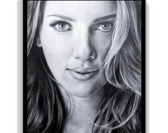Scarlett Johansson art print,Scarlett wall art,Scarlett Johansson fine art print,Scarlett portrait print,Scarlett lover wall decor gift idea