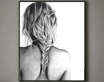 Stampa originale di Black /& White dipinto figura di Studio Ritratto Donna Nudo Decor